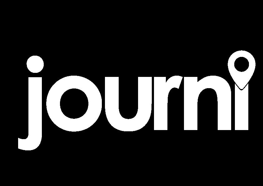 Full white lowercase Journi logo