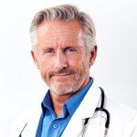 Male doctor wearing white coat