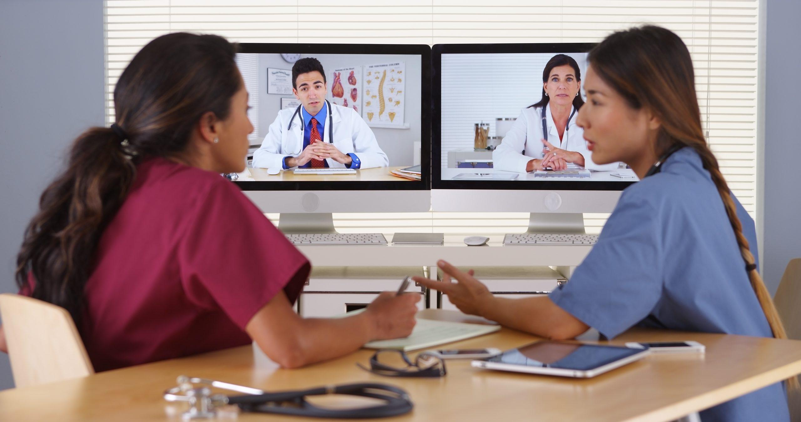 Doctor and nurse virtual call